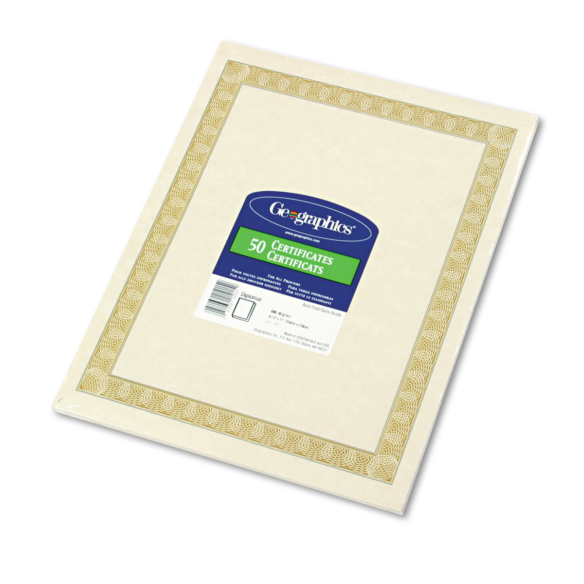 Geographics Parchment Paper Certificates, 8-1/2 x 11, Natural Diplomat Border, 50/Pack -GEO21015