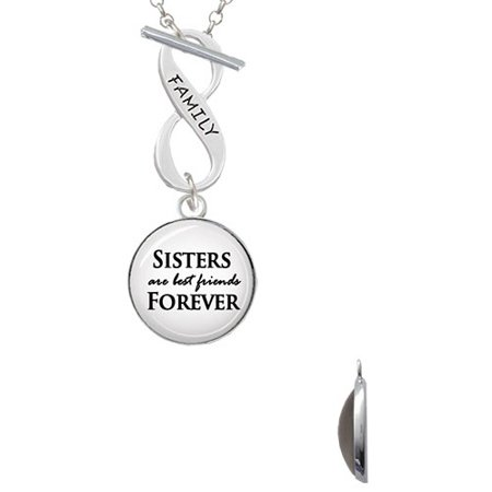 Domed Sisters Are Best Friends Forever Family Infinity Toggle Chain