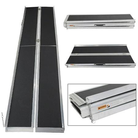 Tri Fold Steel Ramp (UBesGoo 10' ft 600 lbs Aluminum Folding Loading Wheelchair Scooter Mobility Ramp Portable Non-Slip )