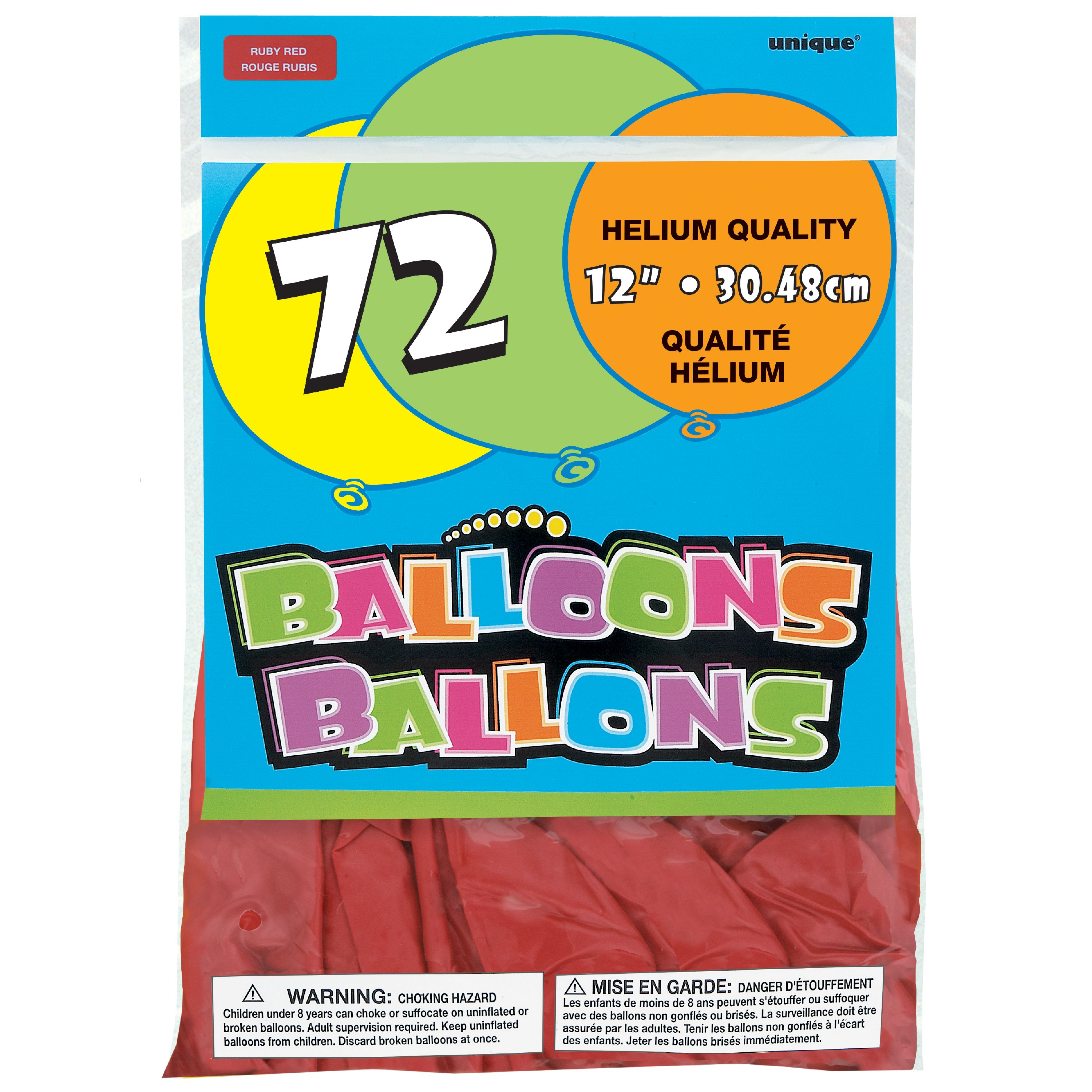 Latex Balloons, 12 in, Red, 72ct