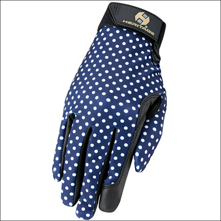 4 SIZE HERITAGE PERFORMANCE GRAPHIC PRINT HORSE STRETCH RIDING GLOVES NAVY DOT Ride Stretch Gloves