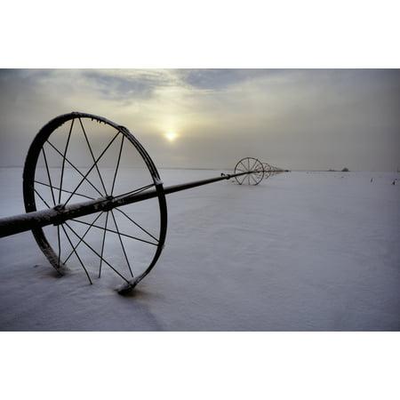 Irrigation Equipment Resting In The Snow Alberta Canvas Art - Dan Jurak Design Pics (34 x 22)