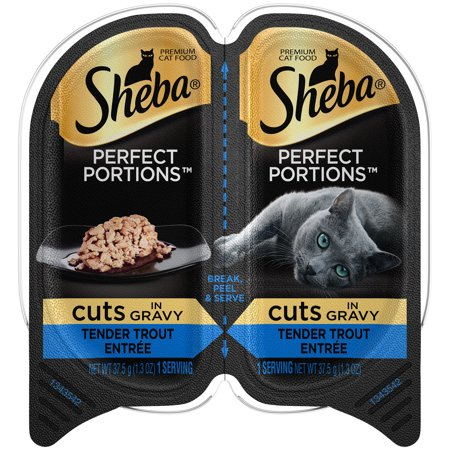 (24 Pack) Sheba Perfect Portions Cuts In Gravy Tender Trout Entree Grain Free Wet Cat Food 2.6 Ounces (1 Twin Pack)