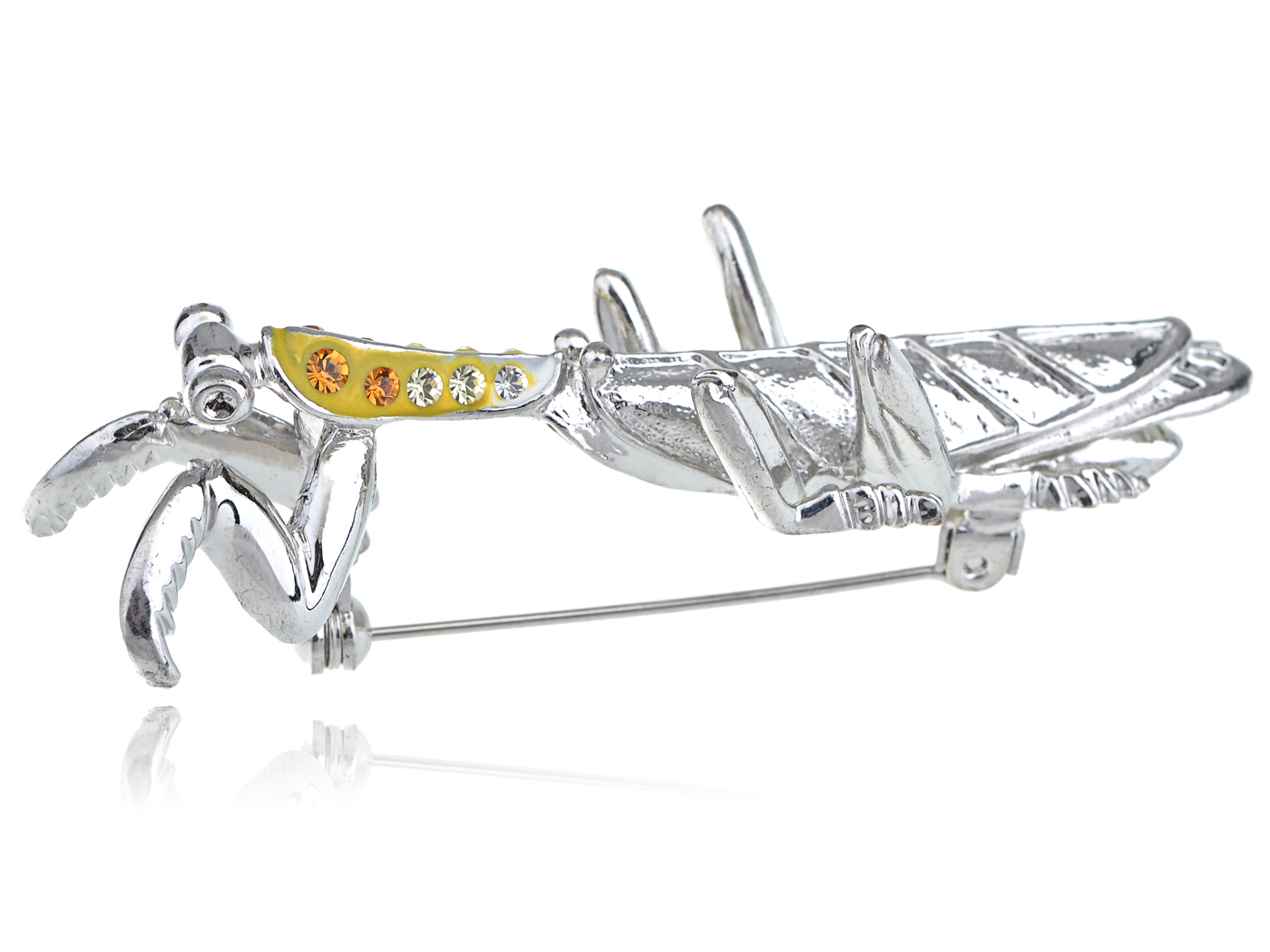 Topaz Crystal Rhinestone Yellow Neck Silver Tone Wing Mantis Insect Pin Broach by