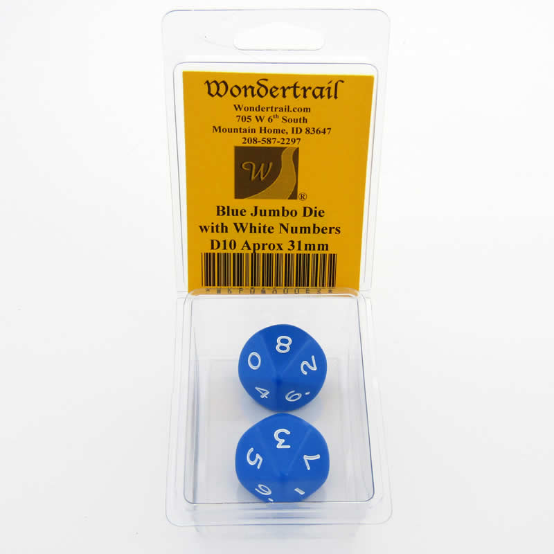 Blue Jumbo Dice with White Numbers D10 31mm Pack of 2 Wondertrail