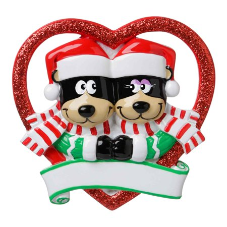 NEW BLACK BEAR COUPLE IN GLITTER HEART Personalized Christmas Tree Ornament DO-IT-YOURSELF
