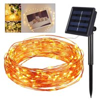 10m 100 LEDs Copper Wire Solar String Lights for Christmas Wedding Outdoor Decoration (Warm White Light)