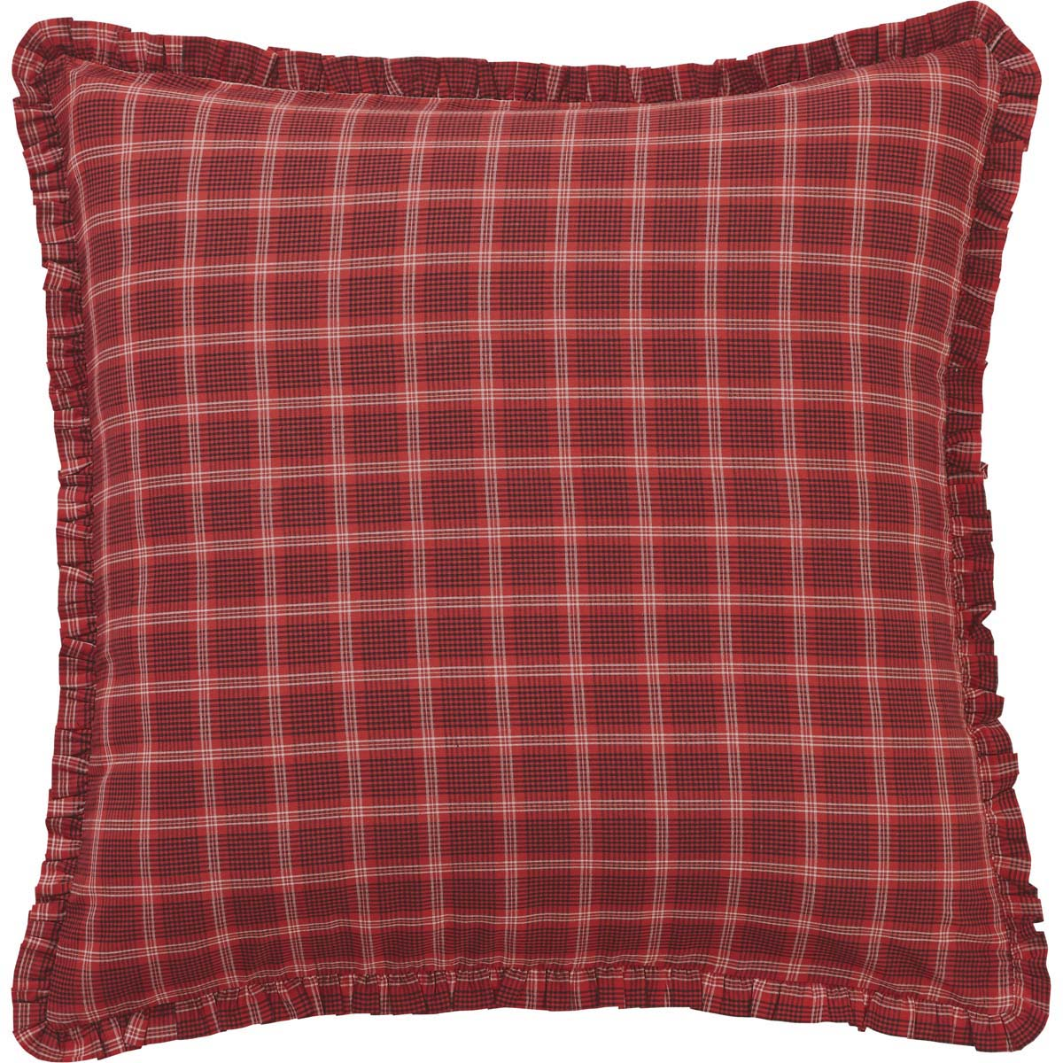 Americana Red Primitive Bedding Liberty Stars Cotton Plaid Euro Sham
