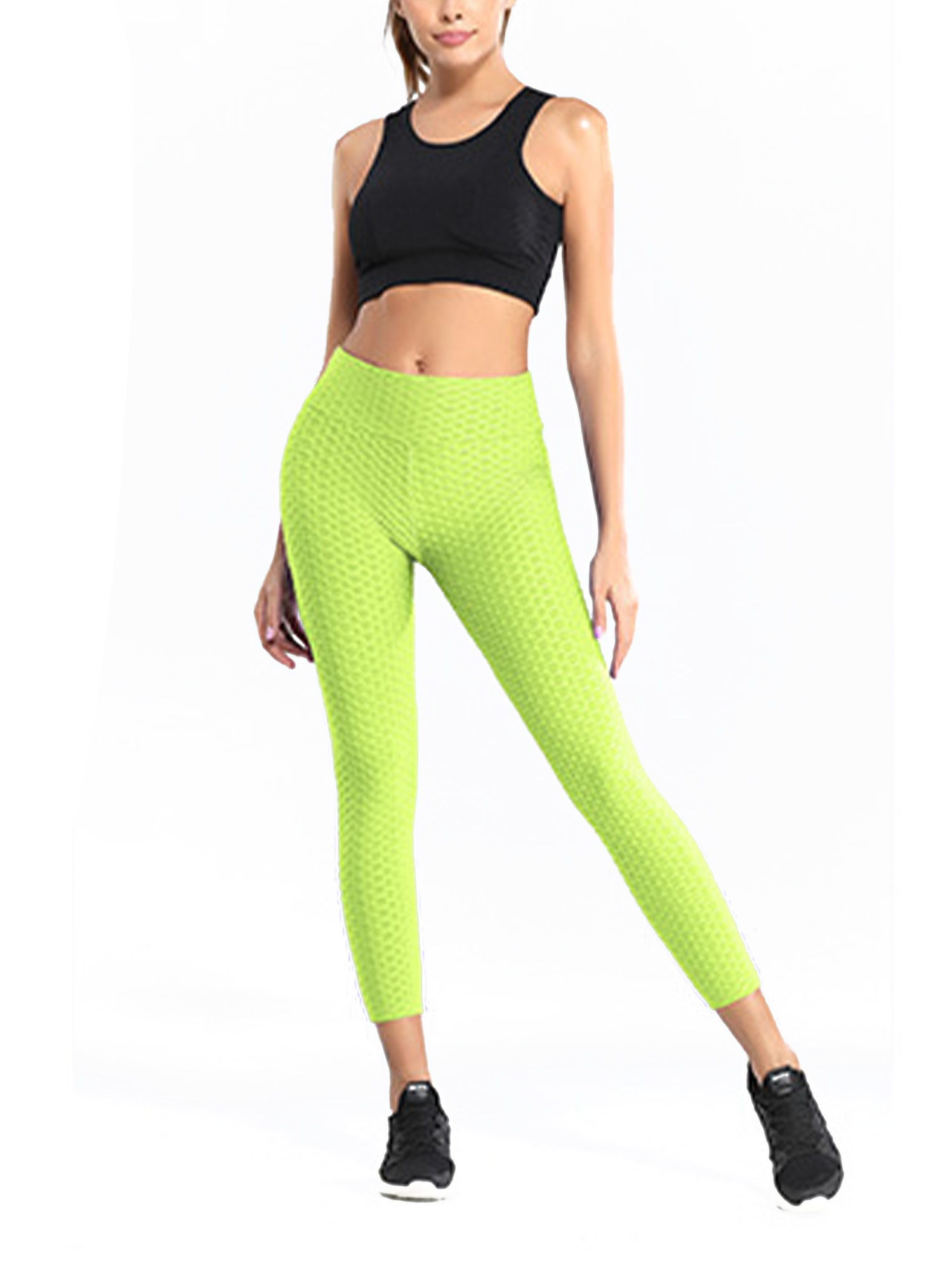 Women Butt Lift Yoga Pants High Waist Leggings Ruched Workout Seamless Trousers