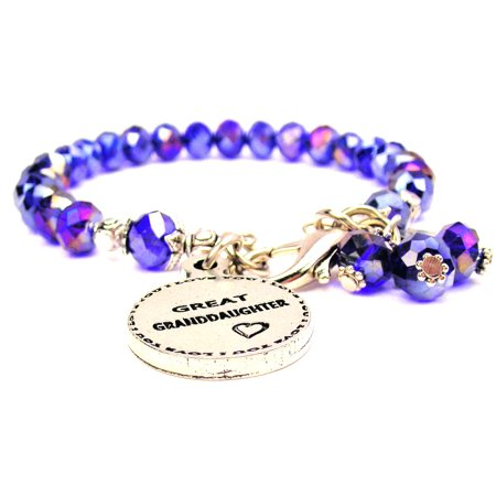 Great Granddaughter Circle Splash Of Color Crystal Bracelet in Sapphire Blue , Fits 7.5 wrist, Exclusive