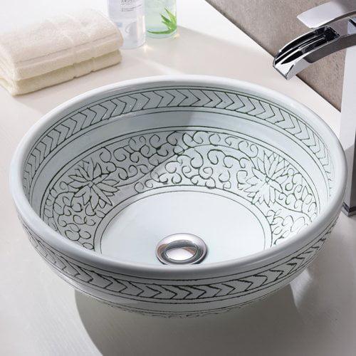 Anzzi Cadence Glass Circular Vessel Bathroom Sink Walmart Com Walmart Com