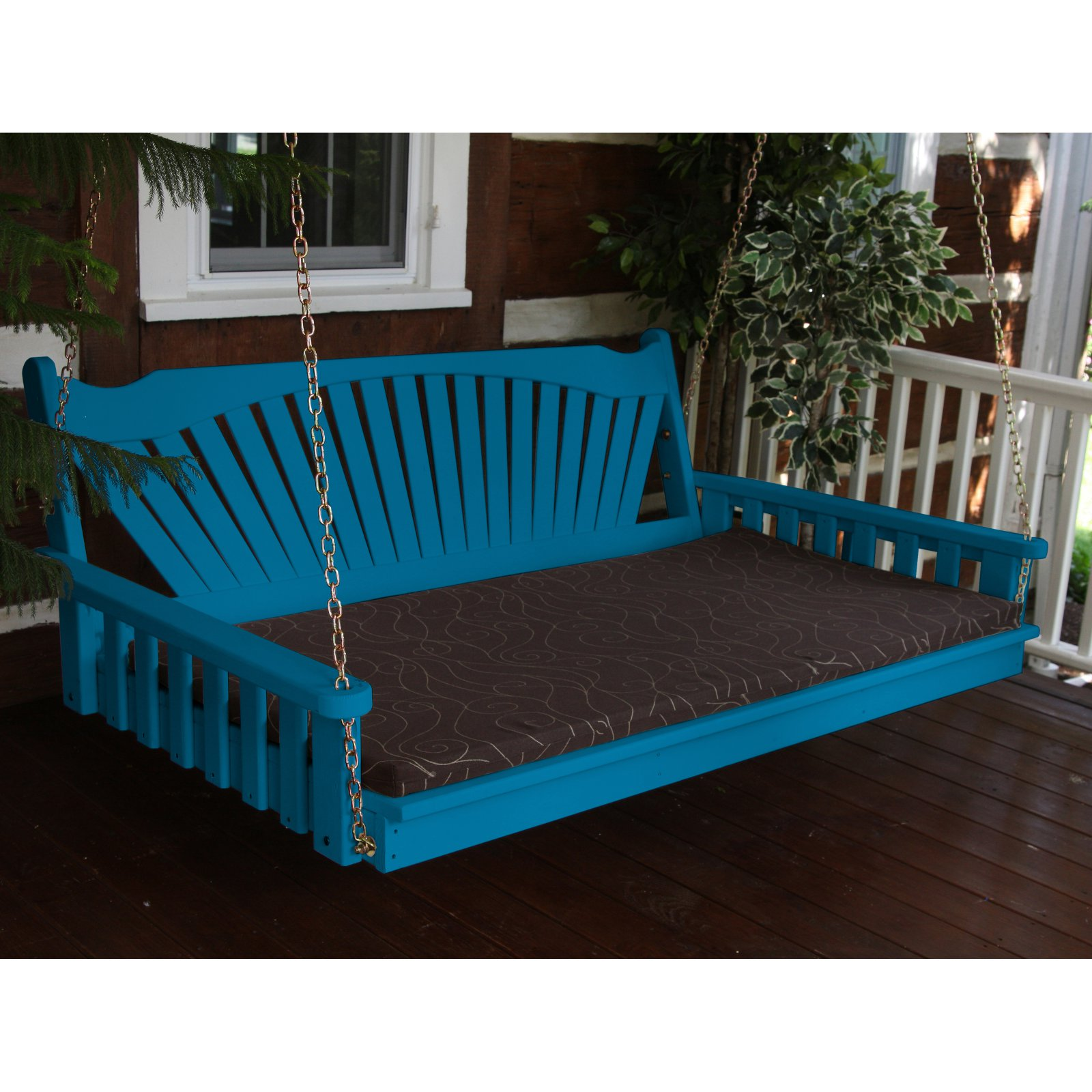 A & L Furniture Yellow Pine Fanback Swing Bed