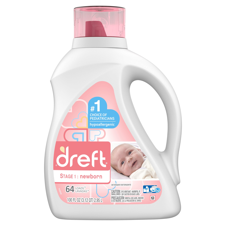 Dreft Stage 1: Newborn Baby Liquid Laundry Detergent, 64 Loads 100 fl oz