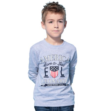 Leo&Lily boys Long Sleeve Crew-Neck Pullover T-Shirt