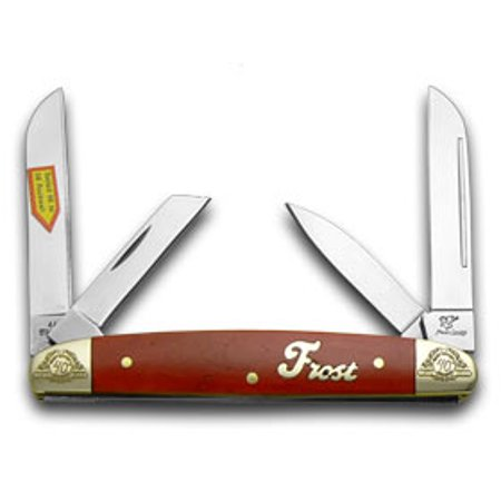 Frost Family 40th Anniversary Dark Red Smooth Bone 1/600 Congress Pocket Knife Knives Smooth Steel Knife