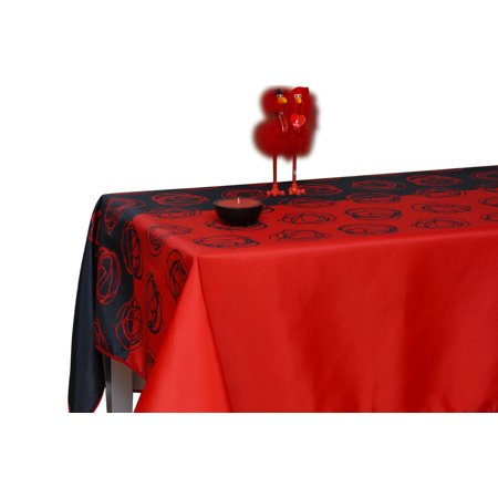 Tablecloth red and black swirl flamenco stain resistant for 120 inch table seats how many