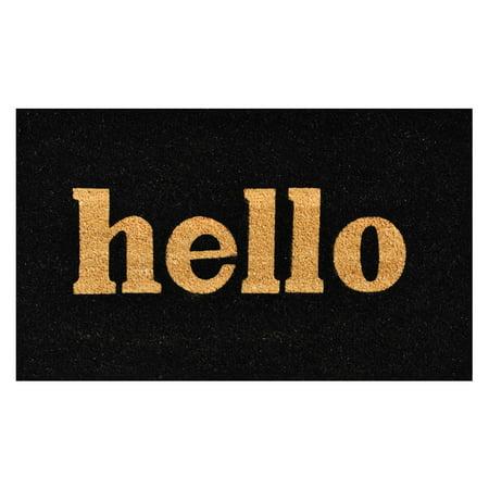 Hello Doormat Black/Natural Block