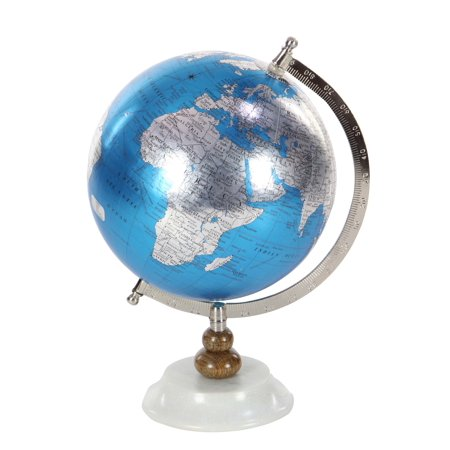 Decmode Contemporary 13 Inch Plastic And Marble Pedestal World Globe, Blue