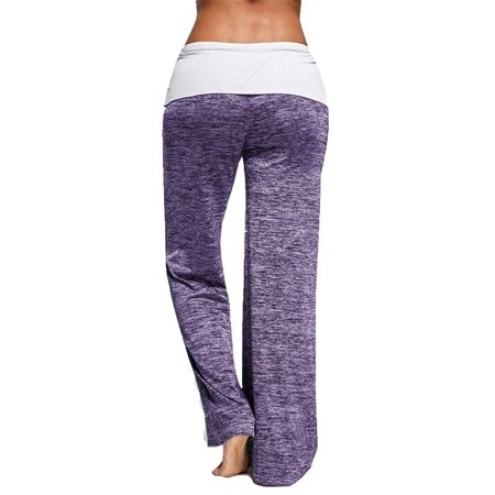 Women Foldover Heather Wide Leg Casual Yoga Pants Bottom Comfy High Waist Sports Trousers