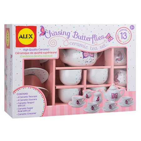 ALEX Toys Chasing Butterflies Ceramic Tea Set - Kids Tea Party Set