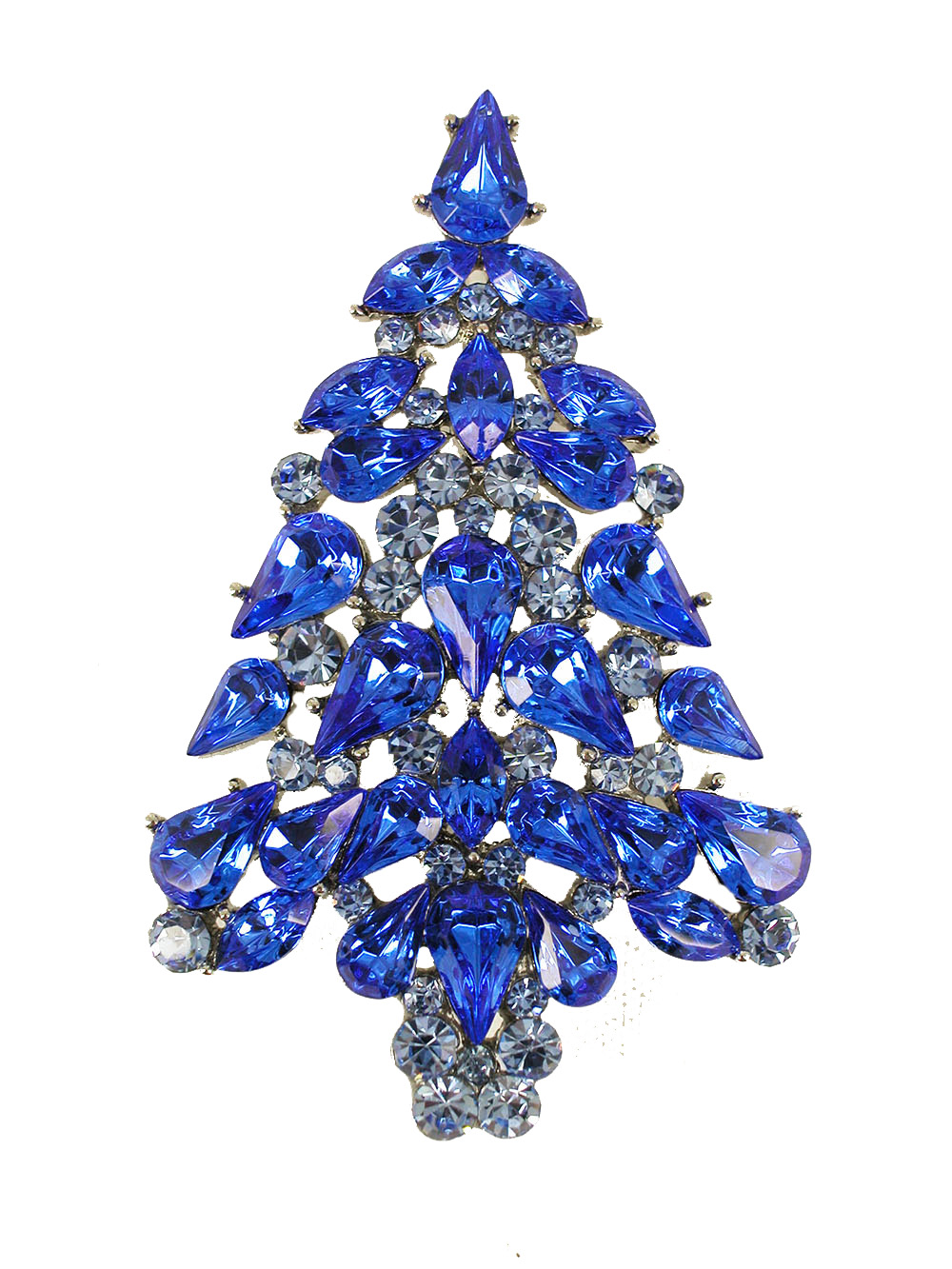 Faship Gorgeous Blue Crystal Christmas Tree Pin Brooch by Faship