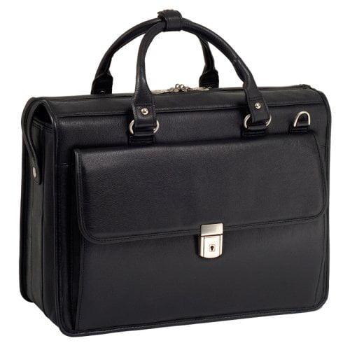 McKlein USA Gresham Leather Litigator Laptop Briefcase - Black
