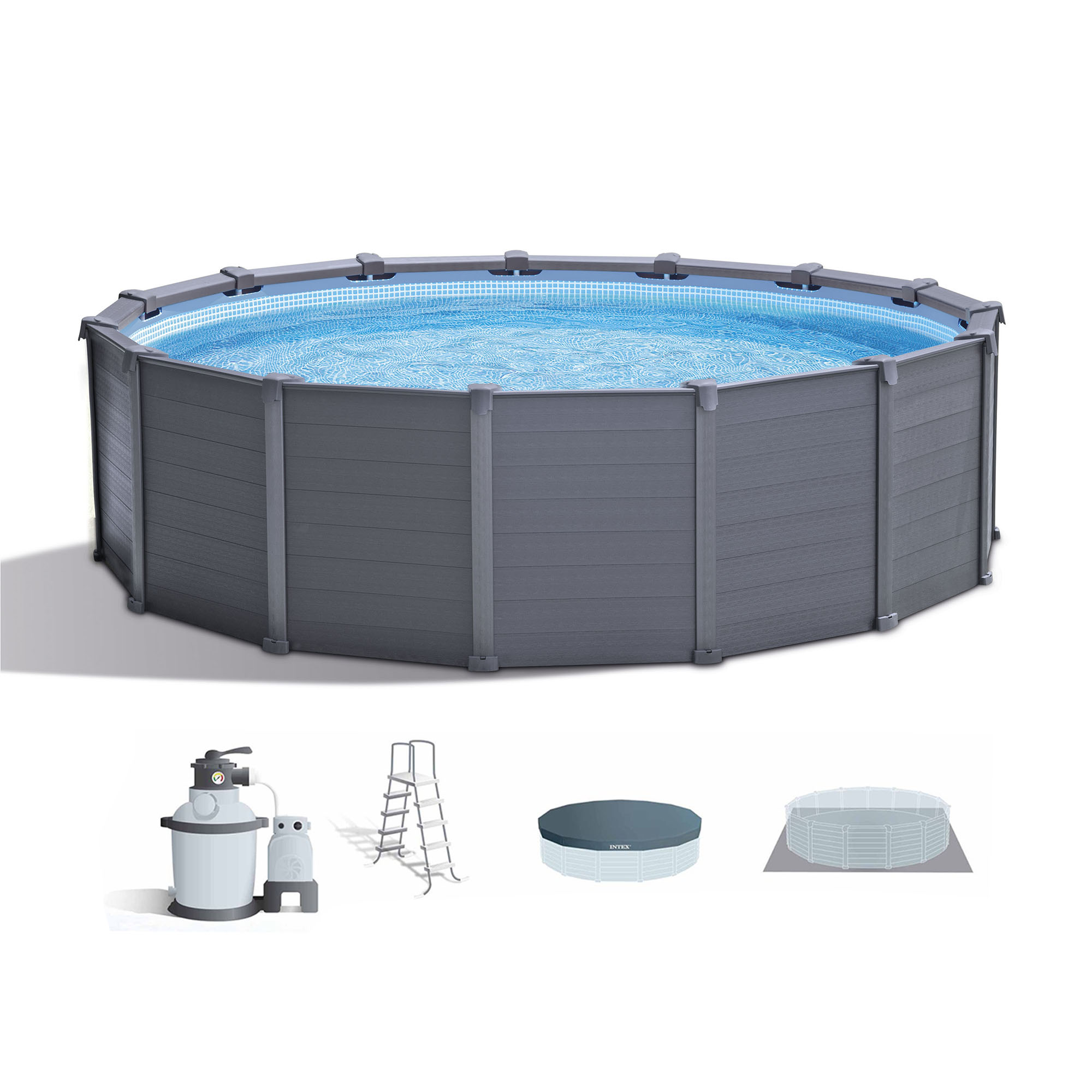 "Intex 15' 8"" x 49"" Above Ground Swimming Pool Set w/ Sand Filter Pump & Ladder"