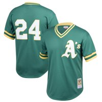 Rickey Henderson Oakland Athletics Mitchell & Ness Youth Cooperstown Collection Mesh Batting Practice Jersey - Green