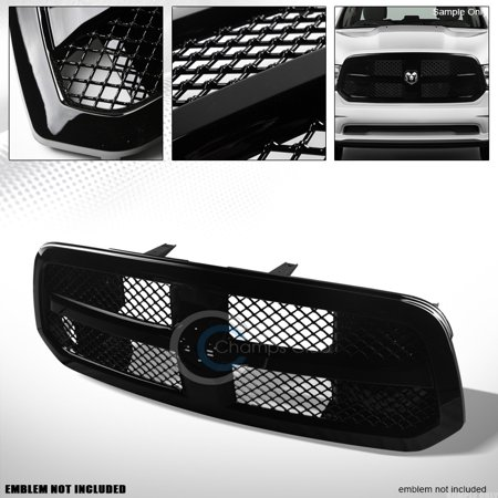 Velocity Concepts Glossy Black Luxury Mesh Front Hood Bumper Grill Grille Cover 13-17 Dodge Ram 1500