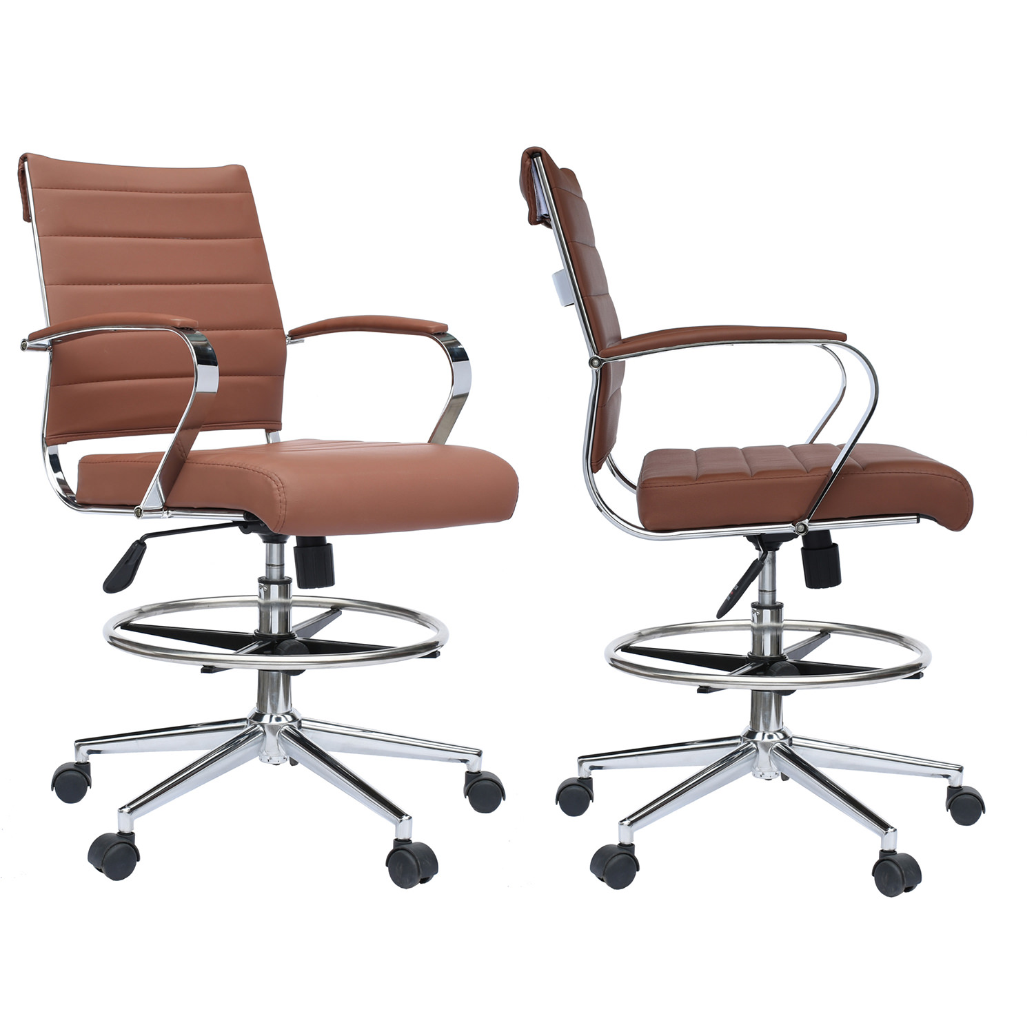 2xhome Set Of 2 Brown Office Chair Ribbed Padded Open Mid Back With Wheels  And Chrome ...