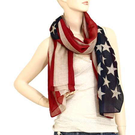 USA American Flag Scarf Beach Wrap Soft Lightweight 72