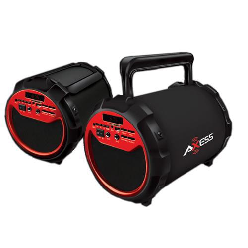 "Axess Portable Bluetooth 2.1 Hi-Fi Loud Speaker w/Mic., SD,USB,AUX And FM, 6.5"" Sub.-Red"