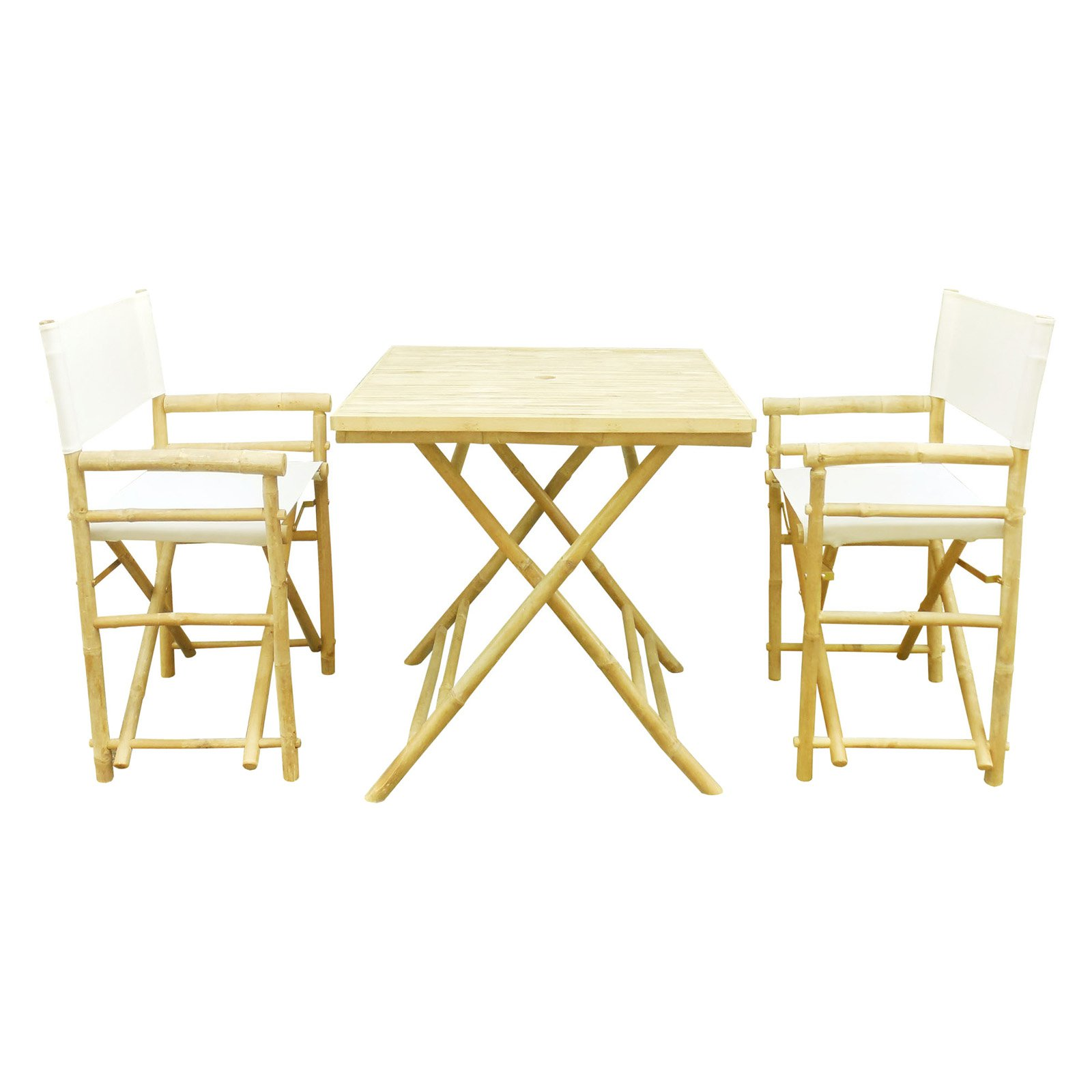 Zew Hand Crafted 3 Piece Square Folding Bamboo Patio Dining Set with Director Chairs