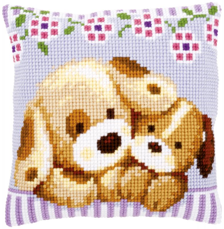 "Cuddling Dogs Cushion Cross Stitch Kit-16""x16"""