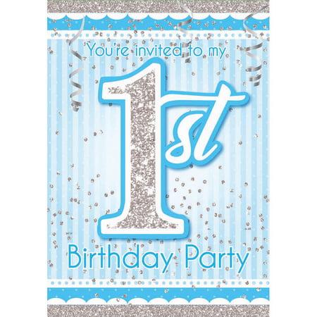 1st Birthday Blue Invitations (8) - Halloween 1st Birthday Invitations Uk