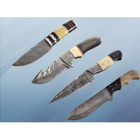4 Pieces Damascus Steel Skinning Knives Set. Overall 36 inches Long Damascus Steel Blade Knives. Camel Bone & Bull Horn Scale, Each Knife Comes with Cow Hide Leather Sheath