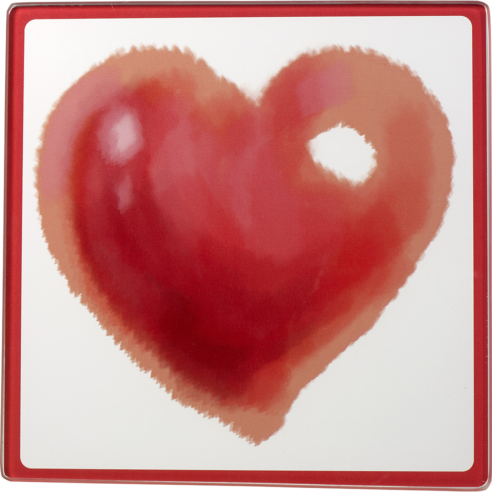 Celebrations by Precious Moments 171528 Valentine's Day Heart Glass Cutting Board/Trivet 7-inches by 7-inches