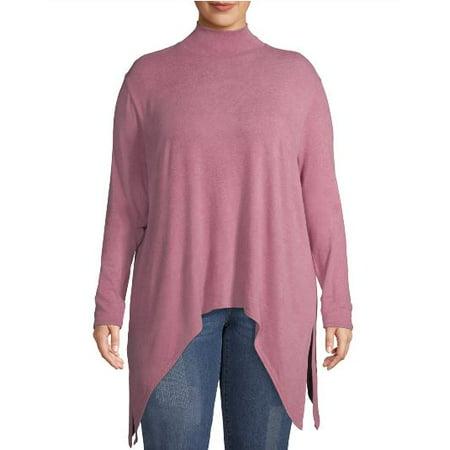 Love Sadie Women's Plus Size Long Sleeve Turtleneck Tunic With Side Slits Long Sleeved Turtleneck