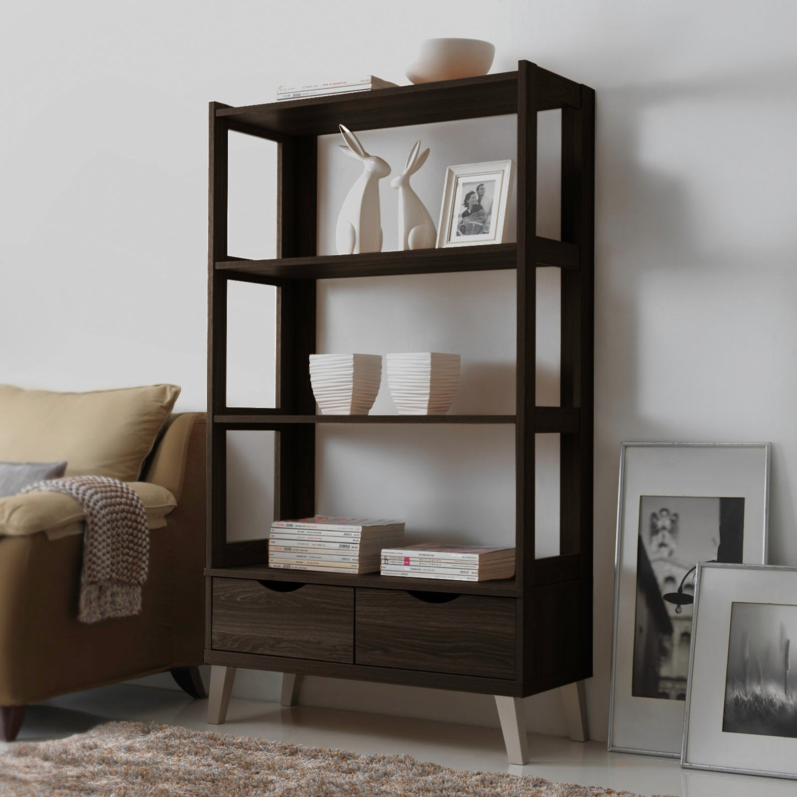 Baxton Studio Kalien Leaning Bookcase with 2 Drawers