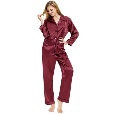 2c9058487 Aibrou - Aibrou Women's Satin Pajamas Set Long Sleeve and Long ...