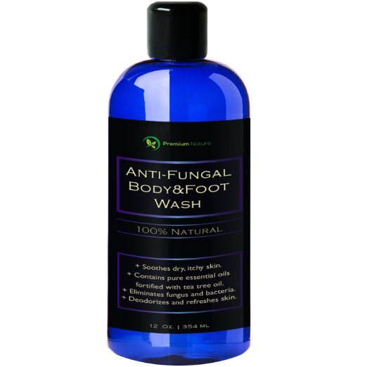 Tea Tree Antifungal Body & Foot Wash Kills Bacteria and Relieves Dryness, Itchiness, Athlete's Foot, 100% Natural, By Premium Nature 12 oz