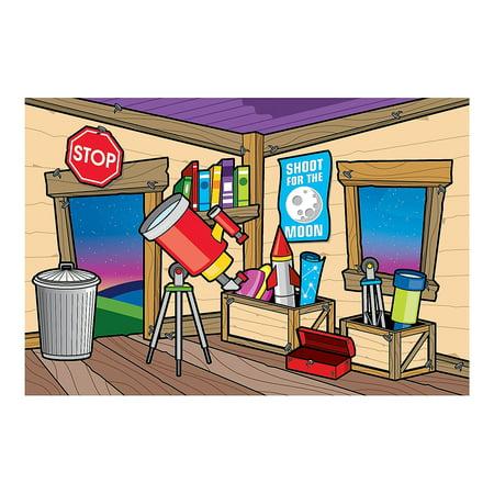 Fun Express - God's Galaxy Vbs Clubhouse Backdrop Ban - Party Decor - Wall Decor - Preprinted Backdrops - 2 Pieces](Vbs Banner)
