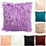 Luxury Series Throw Pillow Covers Faux Fur Mongolian Style Plush Cushion Case for Couch Bed and Chair