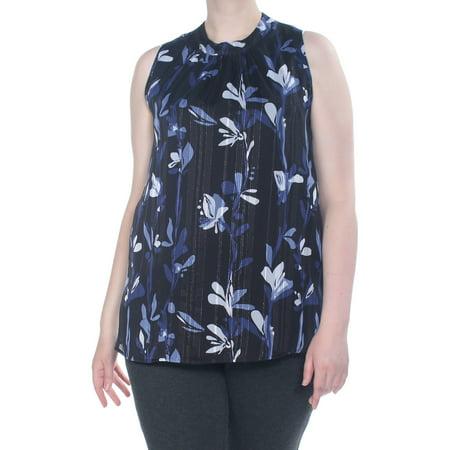 NINE WEST Womens Black Glitter Floral Sleeveless Top Plus  Size: 1X Sleeveless Womens Top