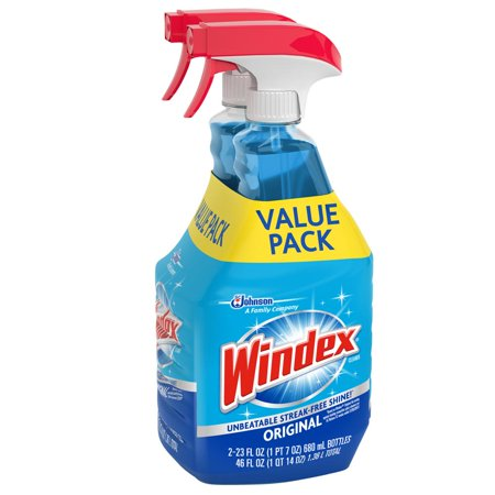 Windex Glass Cleaner Trigger Bottle, Original Blue, 23 fl oz (2