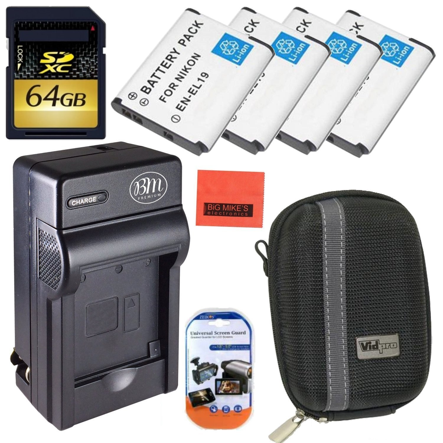 High Power Accessory Kit for Nikon Coolpix S3500 S3600 S4200 S4300 S5200 S5300 S6400 S6500 S6800 Digital Camera - Includes 4 Pack of ENEL19 Batteries + 64GB SD Memory Card + Deluxe Carrying Case +...