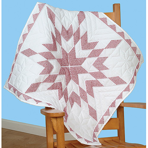 "Jack Dempsey XX Diamond Stamped White Wall Or Lap Quilt, 36"" x 36"""