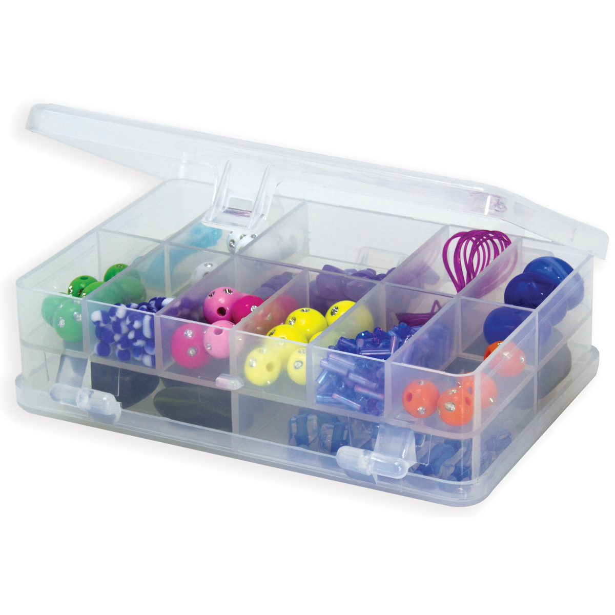 """Creative Options Micro Double Utility Box 14 Compartments-4.375""""X3""""X1.25"""" Clear"""