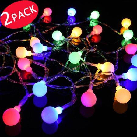 christmas lights 2 pack decorative lights 20 led rgb 165ft globe lights novelty