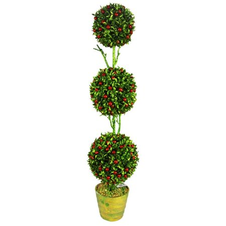 Admired by Nature ABN4X003-GRNRD Artificial 32 in. Christmas Glitter 3 Ball Topiary Plant in Green ()